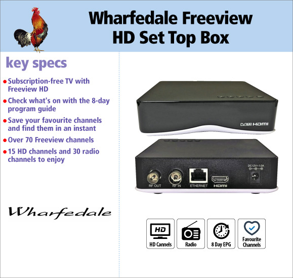 Wharfedale DTV2011 Freeview HD Television Set Top Box Tuner for £24.95