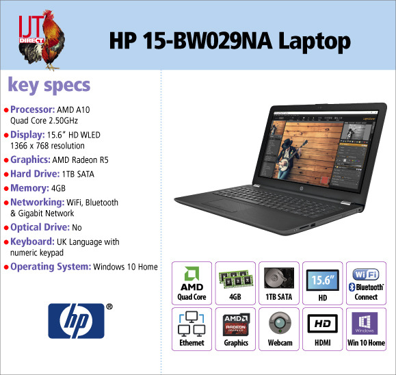 HP 15-BW029NA 15.6 Laptop AMD Quad Core 4GB RAM 1TB HDD with Windows 10 Home for £369.95