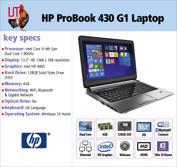 HP ProBook 430 G1 13.3 Laptop Dual Core i5-4300 1.9Ghz 4GB RAM 128GB SSD Windows 10 Home for £249.95
