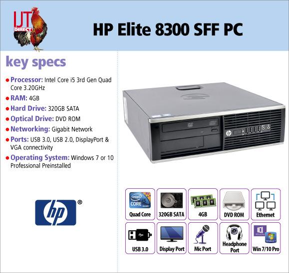 HP Elite 8300 SFF i5 Quad Core Desktop PC with 4GB RAM and supplied with Windows 7 or 10 Professional from £229.95