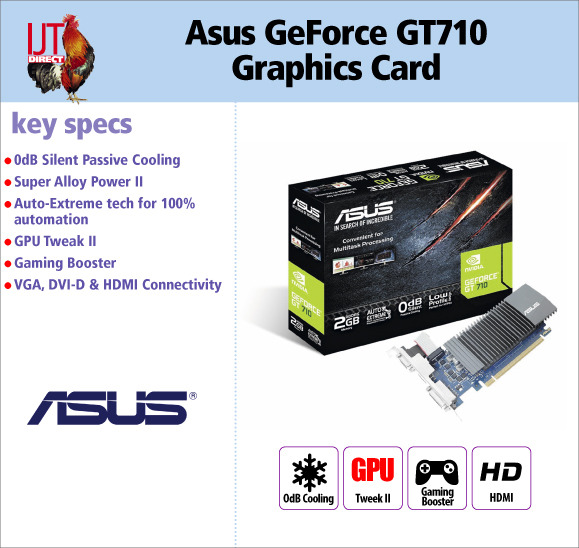 Asus GeForce GT710 1GB DDR5 VGA HDMI DVI Discrete Graphics Card for £39.95