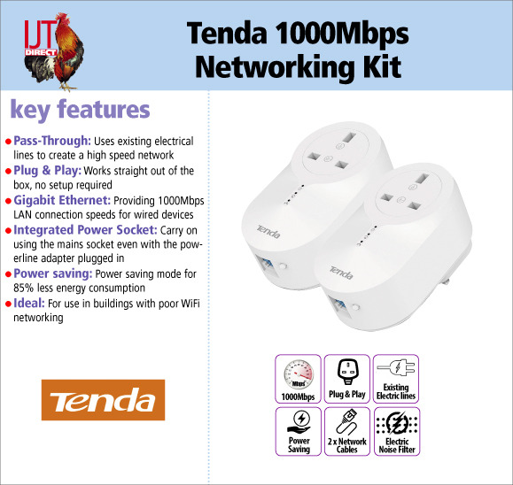 Tenda 1000Mbps Pass-Through LAN Gigabit home or office networking kit including 2 adapters for £34.95