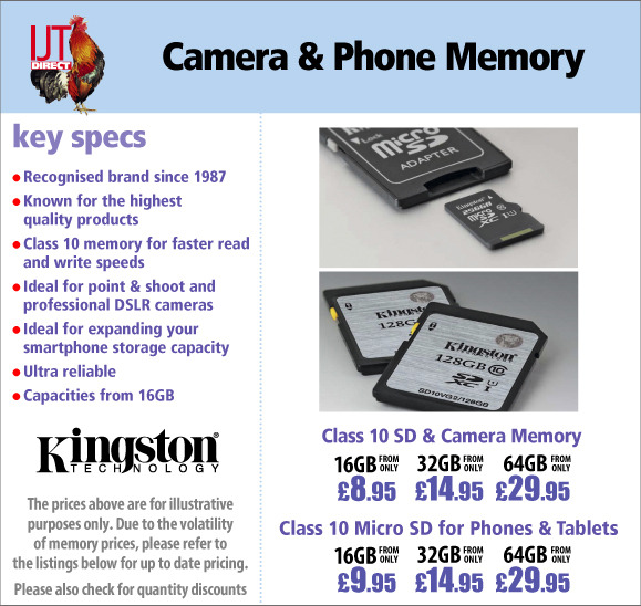 Kingston Class 4 & Class 10 SD and MicroSD Memory Cards for your phone and camera from £4.99
