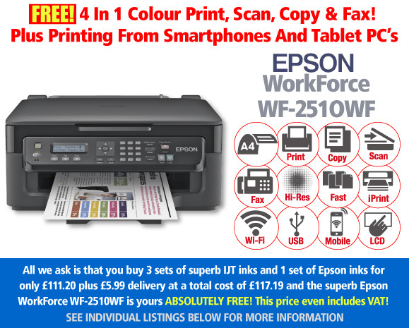 Looking for a cheap inkjet printer? The Epson wf-2510 with 4 ink cartridge sets at £111.20