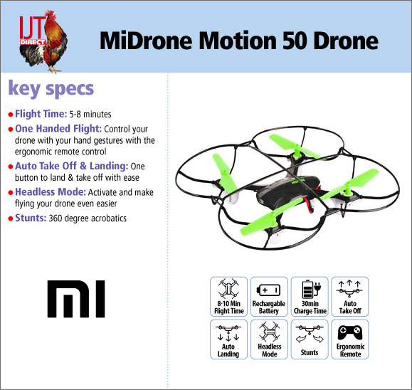 MiDrone Motion 50 Motion Controlled quacopter mini Drone brand new for £19.95