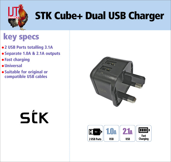 STK Cube+ Dual 2 Port Universal USB 3.1A Charger for less than £10