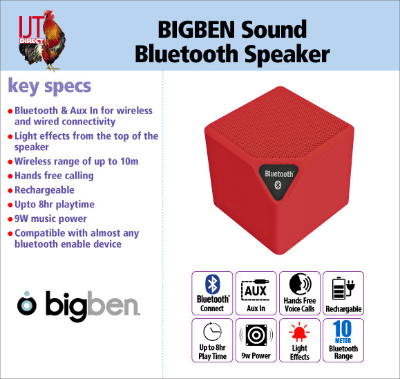 BIGBEN Sound BT14R Bluetooth Wireless Speaker Red brand new for £9.95