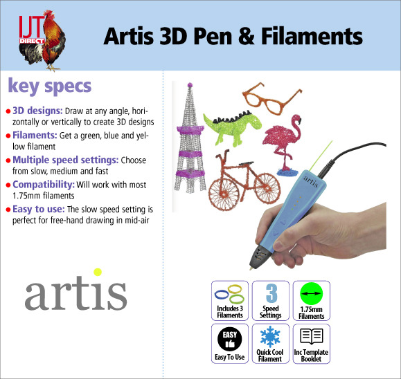 Artis 3D Multispeed easy to use Pen with blue yellow and green Filaments for £19.95