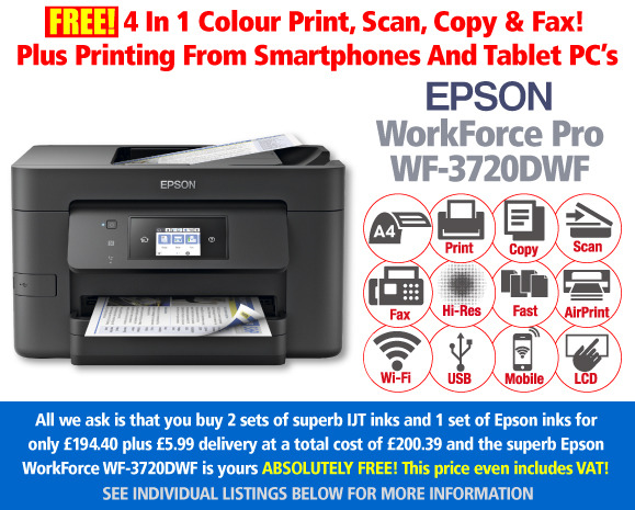 Free Epson WorkForce Pro WF-3720DWF Printer Deal: 3 Sets of Ink