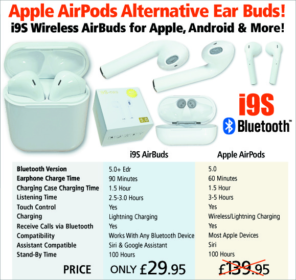 Wireless Bluetooth AirBuds Earphones like AirPods from i9S TWS for only £29.95