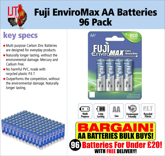 fuji enviromac carbon zinc AA extra heavy duty batteries in packs of 4, 96 batteries total for under £20 with free delivery