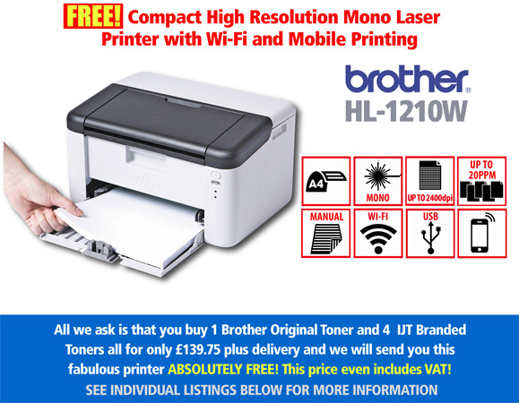 Free Brother HL-1210W WiFi Mobile Printer Deal: With 5 toners