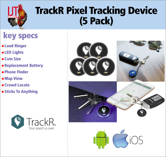 The TrackR Pixel 5 pack means you can track 5 devices or items and you never lose your keys, wallet or moble phone again for only £19.95