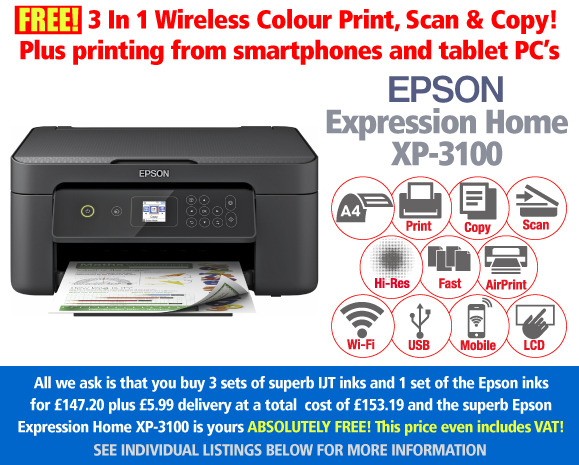 Free Epson Expression Home XP-3100 A4 Multifunction Printer Deal: 4 Sets of Ink