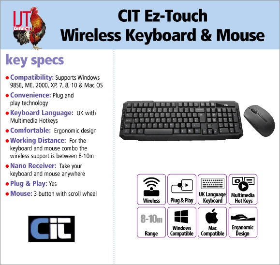 CIT Ez-Touch Wireless Keyboard with multimedia keys & 3 button Mouse Set for £12.95
