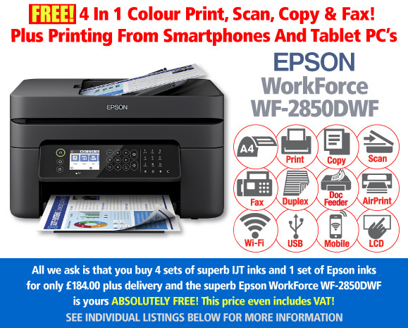 Free Epson WorkForce WF-2850DWF Printer Deal: 5 Sets of Ink for £184