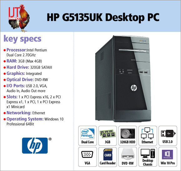 HP G5135UK Intel Dual Core Desktop PC with 3GB RAM and DVD-RW optical drive supplied with Windows 10 Professional for less than £60!