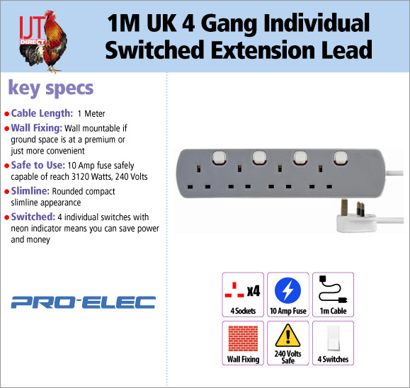 Pro-Elec 1 Meter UK 4 Gang Individual Switched Socket Extension Lead PL13083 for only £6.95