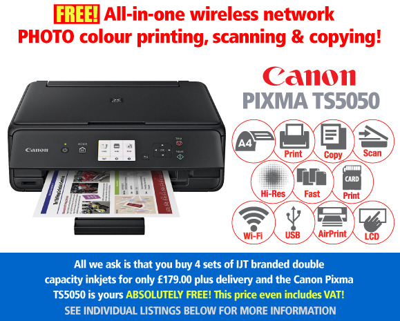 Canon TS 5050 Black Printer Deal with 4 Sets of IJT branded Ink cartridges for £179