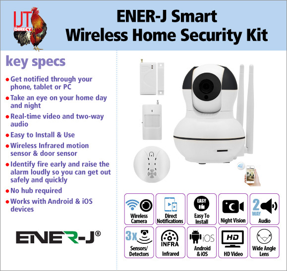 ENER-J Smart Wireless Home Security CCTV Kit with camera 2 sensors and a smoke detector for £69.95